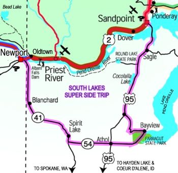 South Lakes Super Side Trip Map